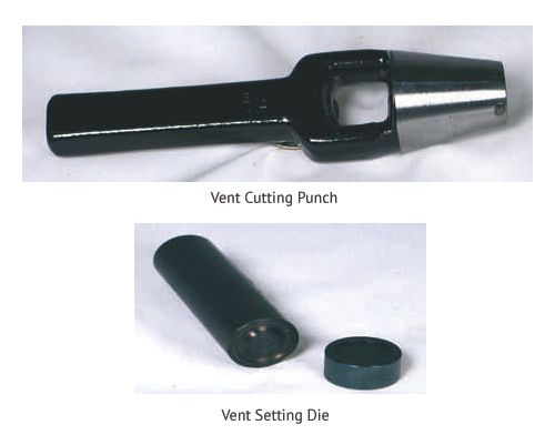 Vent setting die and punch